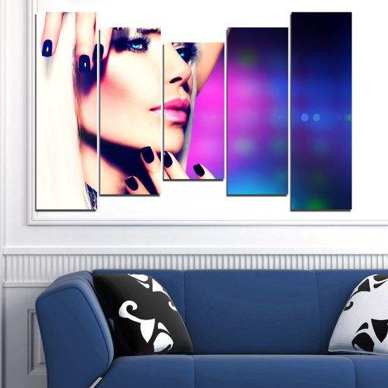 Canvas prints & wall decorative panels - 5 pieces №0139 » Blue, Black, White, Beige, Dark grey » Woman, Fashion, Nail Form #4