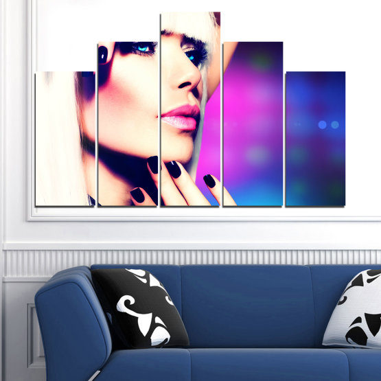Canvas prints & wall decorative panels - 5 pieces №0139 » Blue, Black, White, Beige, Dark grey » Woman, Fashion, Nail Form #5