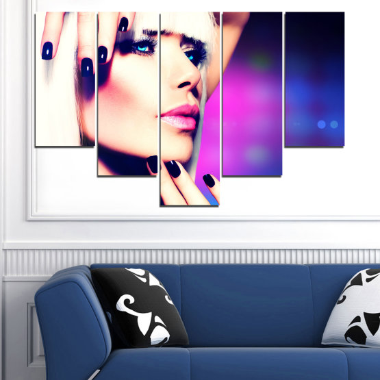 Canvas prints & wall decorative panels - 5 pieces №0139 » Blue, Black, White, Beige, Dark grey » Woman, Fashion, Nail Form #6