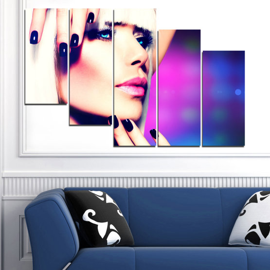 Canvas prints & wall decorative panels - 5 pieces №0139 » Blue, Black, White, Beige, Dark grey » Woman, Fashion, Nail Form #7