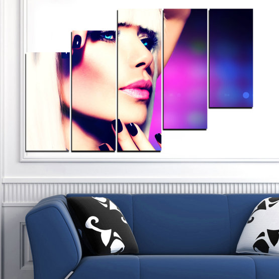 Canvas prints & wall decorative panels - 5 pieces №0139 » Blue, Black, White, Beige, Dark grey » Woman, Fashion, Nail Form #8