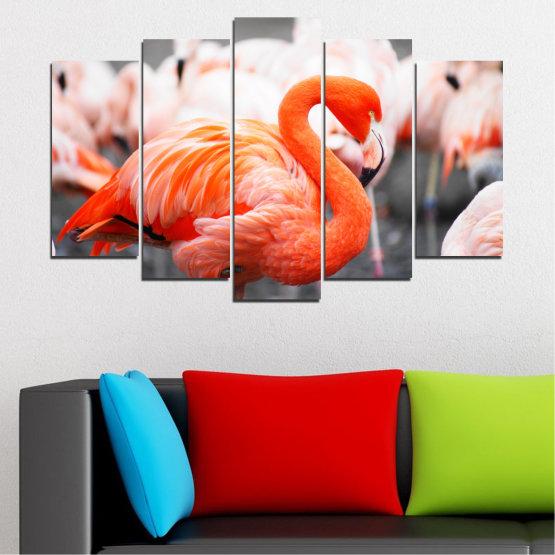 Декоративни панели и картини от канава - от 5 части №0014 » Оранжев, Сив, Бял, Бежов, Тъмно сив » Птици, Африка, Фламинго Form #1