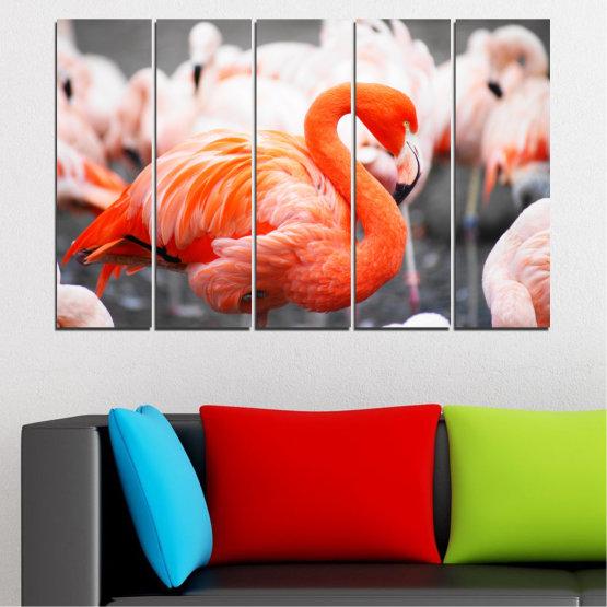 Декоративни панели и картини от канава - от 5 части №0014 » Оранжев, Сив, Бял, Бежов, Тъмно сив » Птици, Африка, Фламинго Form #2