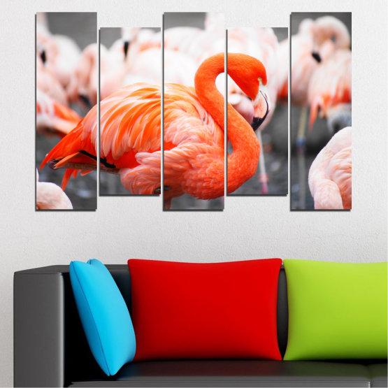 Декоративни панели и картини от канава - от 5 части №0014 » Оранжев, Сив, Бял, Бежов, Тъмно сив » Птици, Африка, Фламинго Form #3