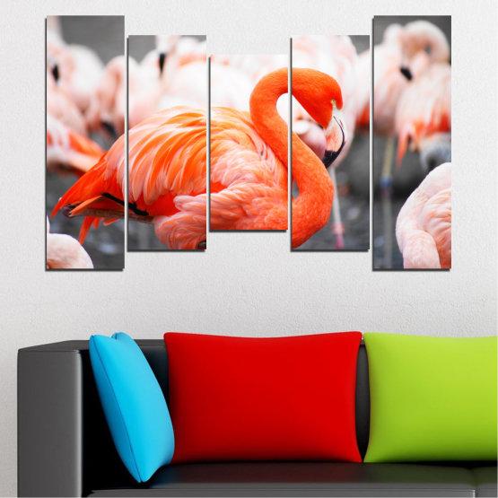 Декоративни панели и картини от канава - от 5 части №0014 » Оранжев, Сив, Бял, Бежов, Тъмно сив » Птици, Африка, Фламинго Form #4