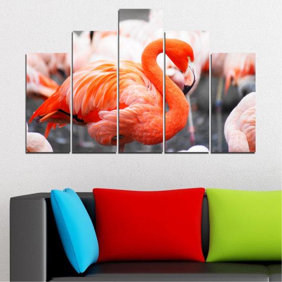Декоративни панели и картини от канава - от 5 части №0014 » Оранжев, Сив, Бял, Бежов, Тъмно сив » Птици, Африка, Фламинго Form #5