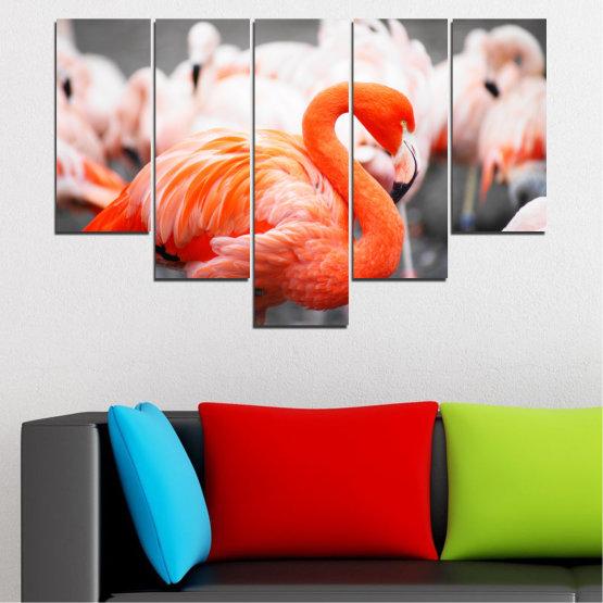 Декоративни панели и картини от канава - от 5 части №0014 » Оранжев, Сив, Бял, Бежов, Тъмно сив » Птици, Африка, Фламинго Form #6