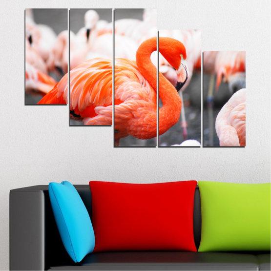 Декоративни панели и картини от канава - от 5 части №0014 » Оранжев, Сив, Бял, Бежов, Тъмно сив » Птици, Африка, Фламинго Form #7