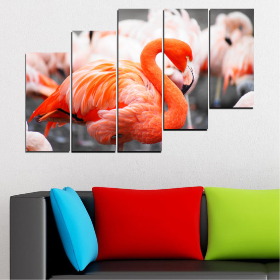 Декоративни панели и картини от канава - от 5 части №0014 » Оранжев, Сив, Бял, Бежов, Тъмно сив » Птици, Африка, Фламинго Form #8