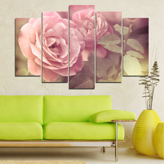 Canvas prints & wall decorative panels - 5 pieces №0140 » Pink, Brown, Gray, Beige, Milky pink » Flowers, Freshness, Rose Form #1