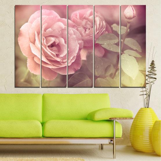 Декоративни панели и картини от канава - от 5 части №0140 » Розов, Кафяв, Сив, Бежов, Млечно розов » Цветя, Свежест, Роза Form #2