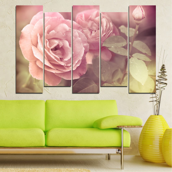 Canvas prints & wall decorative panels - 5 pieces №0140 » Pink, Brown, Gray, Beige, Milky pink » Flowers, Freshness, Rose Form #3