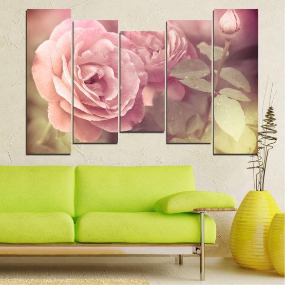 Декоративни панели и картини от канава - от 5 части №0140 » Розов, Кафяв, Сив, Бежов, Млечно розов » Цветя, Свежест, Роза Form #4