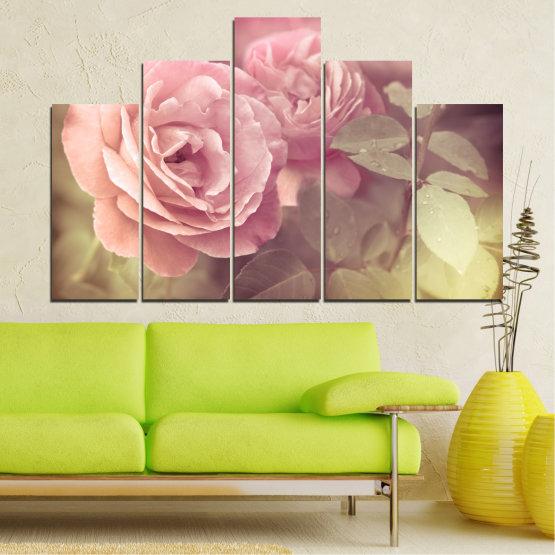 Декоративни панели и картини от канава - от 5 части №0140 » Розов, Кафяв, Сив, Бежов, Млечно розов » Цветя, Свежест, Роза Form #5