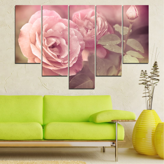 Canvas prints & wall decorative panels - 5 pieces №0140 » Pink, Brown, Gray, Beige, Milky pink » Flowers, Freshness, Rose Form #6