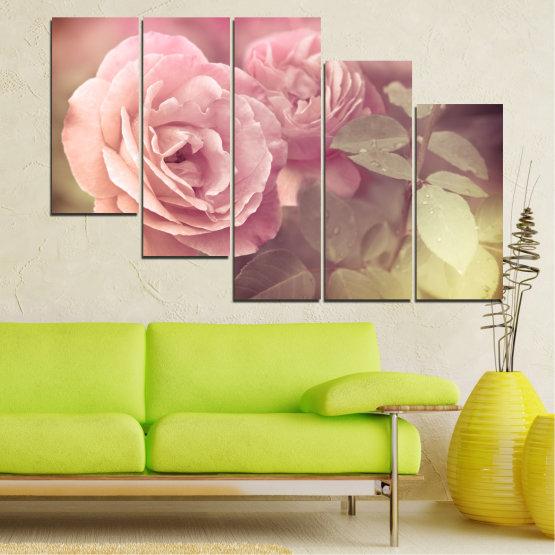 Декоративни панели и картини от канава - от 5 части №0140 » Розов, Кафяв, Сив, Бежов, Млечно розов » Цветя, Свежест, Роза Form #7