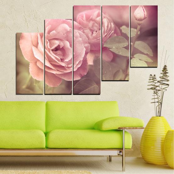 Декоративни панели и картини от канава - от 5 части №0140 » Розов, Кафяв, Сив, Бежов, Млечно розов » Цветя, Свежест, Роза Form #8