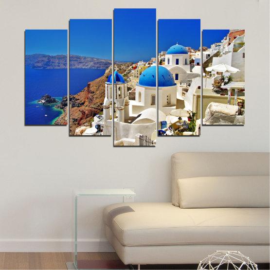 Декоративни панели и картини от канава - от 5 части №0141 » Син, Кафяв, Сив » Пейзаж, Гърция, Къща Form #1