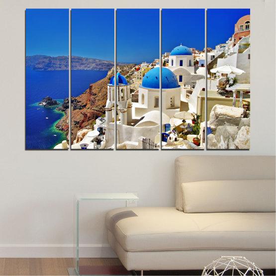 Декоративни панели и картини от канава - от 5 части №0141 » Син, Кафяв, Сив » Пейзаж, Гърция, Къща Form #2