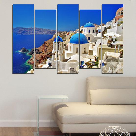 Декоративни панели и картини от канава - от 5 части №0141 » Син, Кафяв, Сив » Пейзаж, Гърция, Къща Form #3