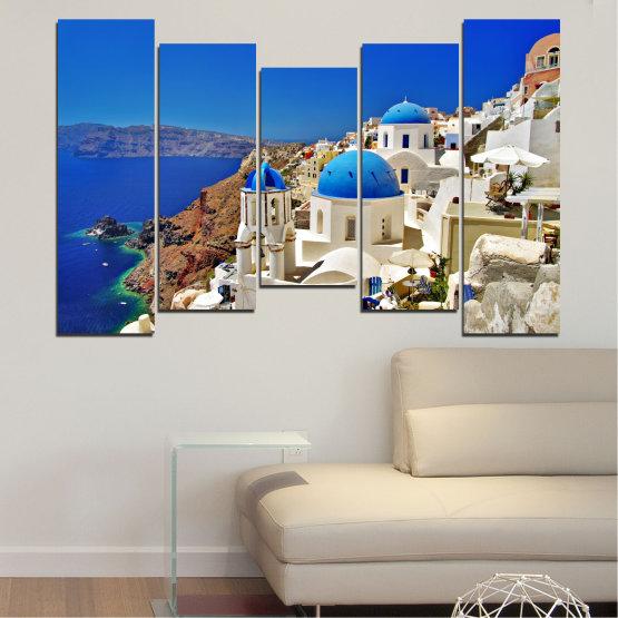 Декоративни панели и картини от канава - от 5 части №0141 » Син, Кафяв, Сив » Пейзаж, Гърция, Къща Form #4