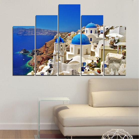 Декоративни панели и картини от канава - от 5 части №0141 » Син, Кафяв, Сив » Пейзаж, Гърция, Къща Form #5