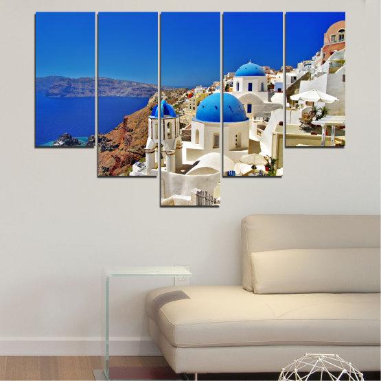 Декоративни панели и картини от канава - от 5 части №0141 » Син, Кафяв, Сив » Пейзаж, Гърция, Къща Form #6