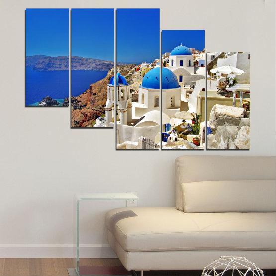 Декоративни панели и картини от канава - от 5 части №0141 » Син, Кафяв, Сив » Пейзаж, Гърция, Къща Form #7