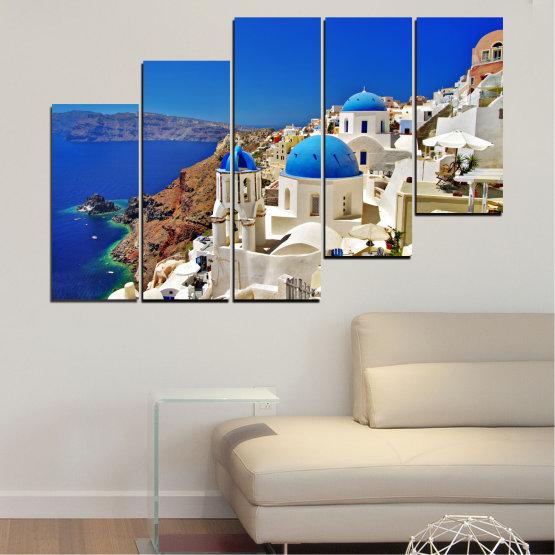 Декоративни панели и картини от канава - от 5 части №0141 » Син, Кафяв, Сив » Пейзаж, Гърция, Къща Form #8