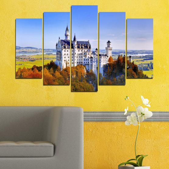 Декоративни панели и картини от канава - от 5 части №0142 » Тюркоаз, Кафяв, Сив, Тъмно сив » Забележителност, Нойшвайнщайн, Замък, Германия Form #1