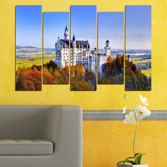 Декоративни панели и картини от канава - от 5 части №0142 » Тюркоаз, Кафяв, Сив, Тъмно сив » Забележителност, Нойшвайнщайн, Замък, Германия Form #3