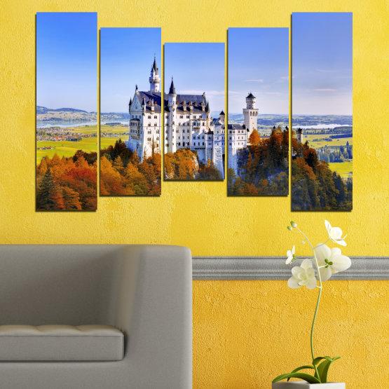 Декоративни панели и картини от канава - от 5 части №0142 » Тюркоаз, Кафяв, Сив, Тъмно сив » Забележителност, Нойшвайнщайн, Замък, Германия Form #4