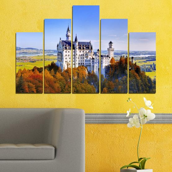 Декоративни панели и картини от канава - от 5 части №0142 » Тюркоаз, Кафяв, Сив, Тъмно сив » Забележителност, Нойшвайнщайн, Замък, Германия Form #5