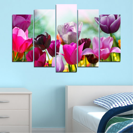Canvas prints & wall decorative panels - 5 pieces №0143 » Red, Purple, Gray, White » Flowers, Garden, Tulip Form #1
