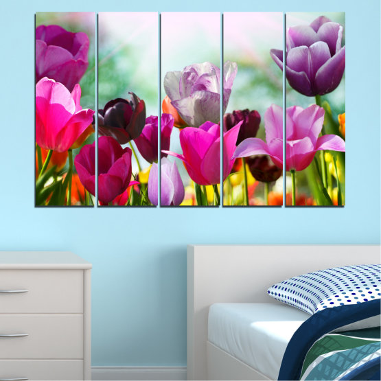 Canvas prints & wall decorative panels - 5 pieces №0143 » Red, Purple, Gray, White » Flowers, Garden, Tulip Form #2