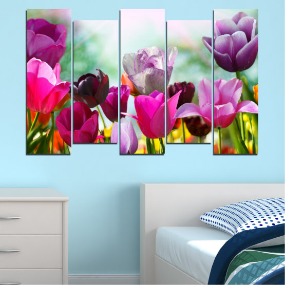 Canvas prints & wall decorative panels - 5 pieces №0143 » Red, Purple, Gray, White » Flowers, Garden, Tulip Form #3