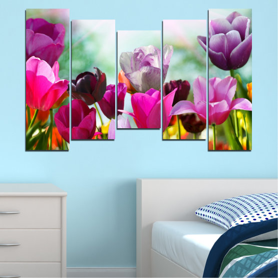 Canvas prints & wall decorative panels - 5 pieces №0143 » Red, Purple, Gray, White » Flowers, Garden, Tulip Form #4