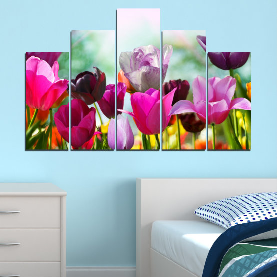 Canvas prints & wall decorative panels - 5 pieces №0143 » Red, Purple, Gray, White » Flowers, Garden, Tulip Form #5