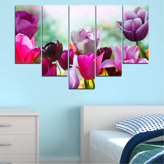 Canvas prints & wall decorative panels - 5 pieces №0143 » Red, Purple, Gray, White » Flowers, Garden, Tulip Form #6