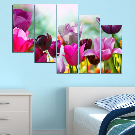 Canvas prints & wall decorative panels - 5 pieces №0143 » Red, Purple, Gray, White » Flowers, Garden, Tulip Form #7
