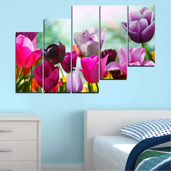 Canvas prints & wall decorative panels - 5 pieces №0143 » Red, Purple, Gray, White » Flowers, Garden, Tulip Form #8