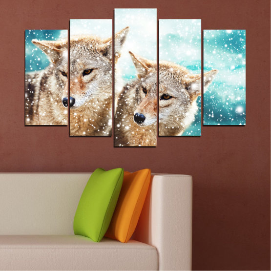 Canvas prints & wall decorative panels - 5 pieces №0144 » Brown, Gray, White, Beige » Animal, Snow, Wolf Form #1