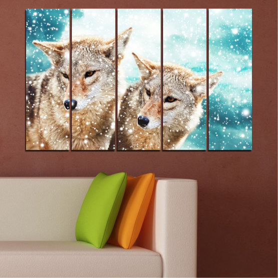 Canvas prints & wall decorative panels - 5 pieces №0144 » Brown, Gray, White, Beige » Animal, Snow, Wolf Form #2