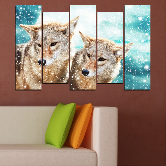 Canvas prints & wall decorative panels - 5 pieces №0144 » Brown, Gray, White, Beige » Animal, Snow, Wolf Form #3