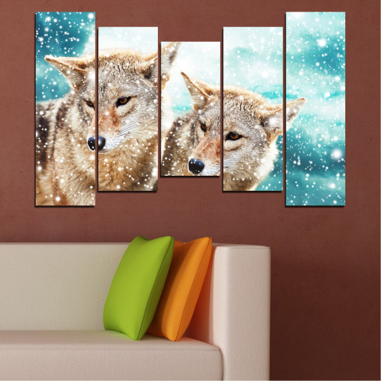 Canvas prints & wall decorative panels - 5 pieces №0144 » Brown, Gray, White, Beige » Animal, Wolf, Snow Form #4