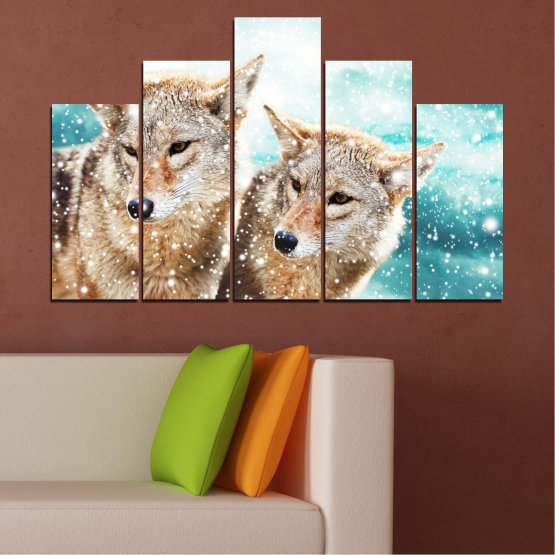 Canvas prints & wall decorative panels - 5 pieces №0144 » Brown, Gray, White, Beige » Animal, Snow, Wolf Form #5
