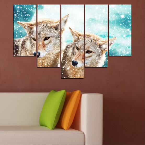 Canvas prints & wall decorative panels - 5 pieces №0144 » Brown, Gray, White, Beige » Animal, Snow, Wolf Form #6