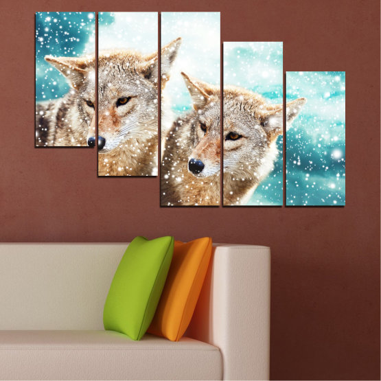 Canvas prints & wall decorative panels - 5 pieces №0144 » Brown, Gray, White, Beige » Animal, Snow, Wolf Form #7