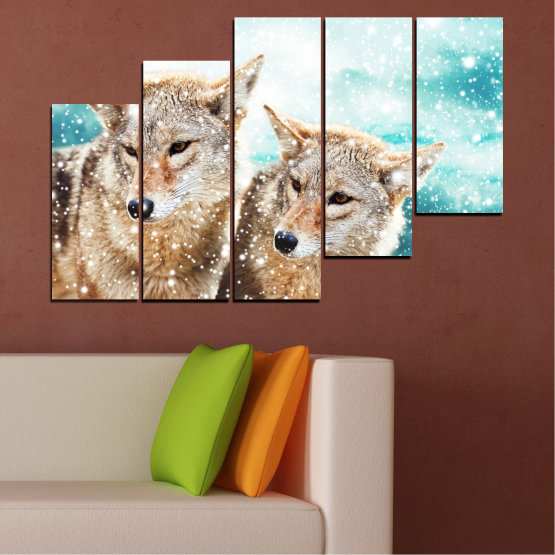 Canvas prints & wall decorative panels - 5 pieces №0144 » Brown, Gray, White, Beige » Animal, Snow, Wolf Form #8