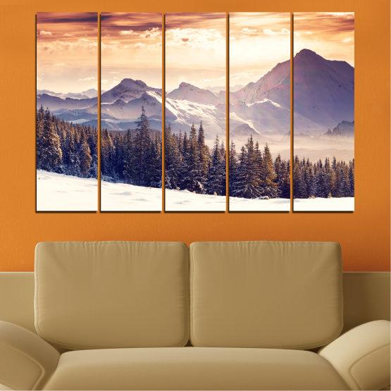 Декоративни панели и картини от канава - от 5 части №0145 » Сив, Бял, Бежов, Тъмно сив » Пейзаж, Планина, Гора, Сняг, Зима Form #2